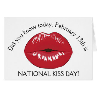 National Kiss Day February 13th Holiday Card