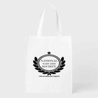 National Sarcasm Society Humor Quote Sarcastic Fun Reusable Grocery Bag