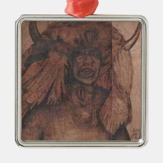 NATIVE AMER WB.PNG Native american wood burning Christmas Ornament