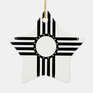 Native American beaded Zia Ceramic Star Decoration