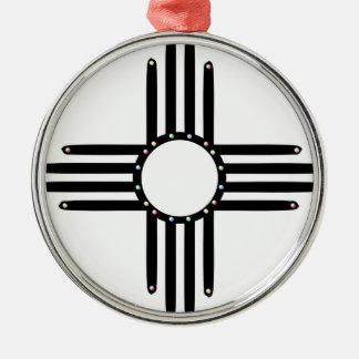 Native American beaded Zia Silver-Colored Round Decoration