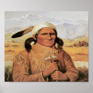Native American Chief Geronimo Vintage Art Poster