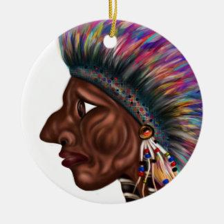 Native American Head Round Ceramic Decoration
