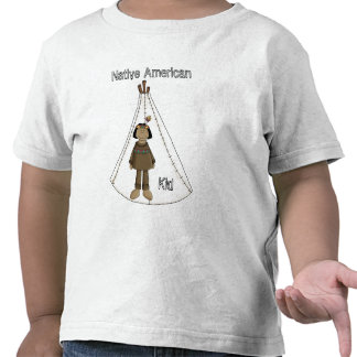 Native American Indian Boy With Tee Pee T - Shirt