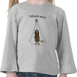Native American Indian Girl with Tee Pee T Shirt L