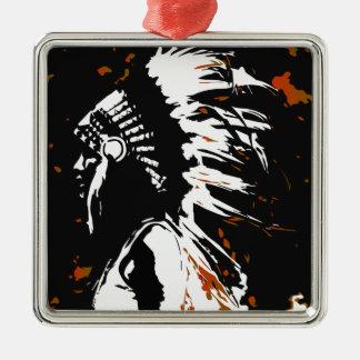 Native American Indian Silver-Colored Square Decoration