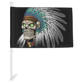 Native American Indian Tribal Gothic Skull Car Flag