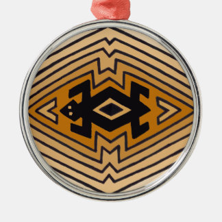 Native American Mimbres Bear Silver-Colored Round Decoration