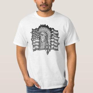 Native American skull and American flag shirt