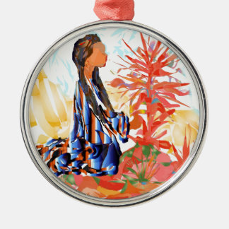 """Native American """"The giving Tree"""" Silver-Colored Round Decoration"""