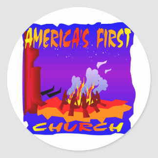 Native Americans, Americas First Church Classic Round Sticker