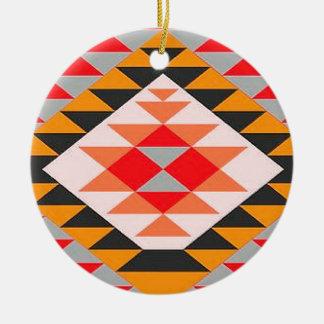 Native Contemporary Tribal Bright Print Round Ceramic Decoration