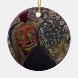 Native Crazy Quilt Round Ceramic Decoration