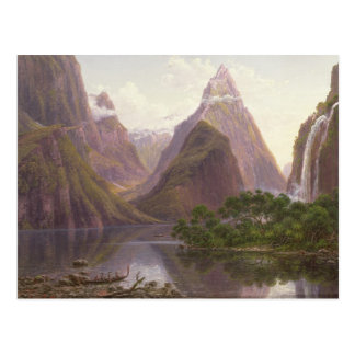 Native figures in a canoe at Milford Sound Postcard