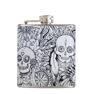 native indian skull hip flask gift tattoo style