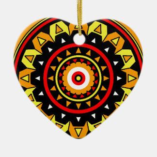 Native Mandala Ceramic Heart Decoration