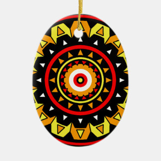 Native Mandala Ceramic Oval Decoration