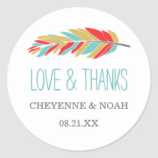 Native Themed | Wedding Thank You Favor Stickers