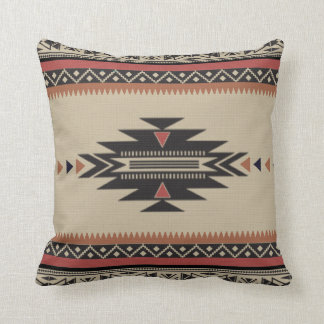Native Tribal Woven Pattern in Browns, Black, Rust Cushion
