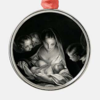 Nativity Baby Jesus Virgin Mary Angels Black White Christmas Ornament