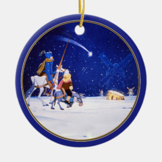 Nativity & Don Quixote fantasy - by Cervantes Round Ceramic Decoration