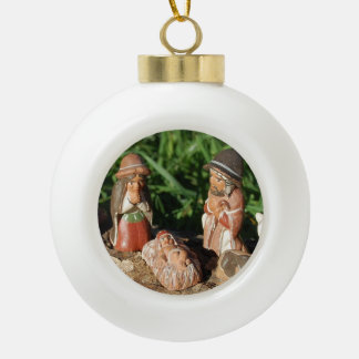 Nativity Scene Ceramic Ball Ornament