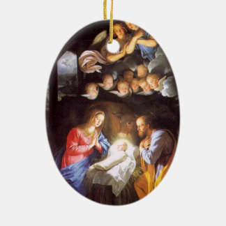 Nativity Scene with Angels Christmas Ornament