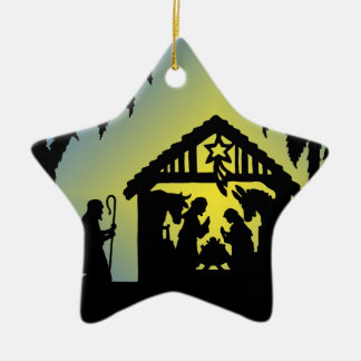 Nativity Silhouette Joy to the World Christmas Ornament