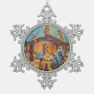 Nativity Snowflake Pewter Christmas Ornament