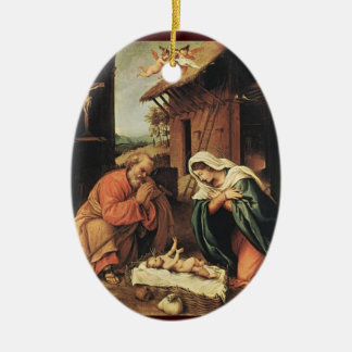 Nativity with Cherubs Christmas Ornament