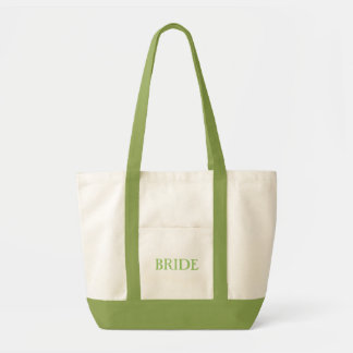 "natural and light green ""BRIDE"" tote bag"
