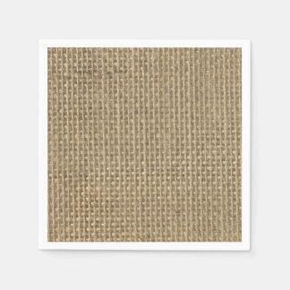 Natural Beige Tan Jute Burlap-Rustic Cabin Wedding Paper Napkin