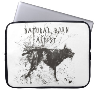 Natural born artist (black and white) laptop sleeve