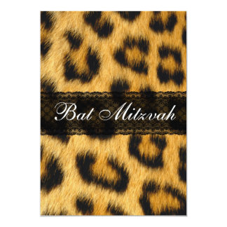 Natural Cheetah Print Bat Mitzvah Invitation