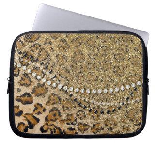 Natural Gold Leopard Animal Print Glitter Look Laptop Sleeve