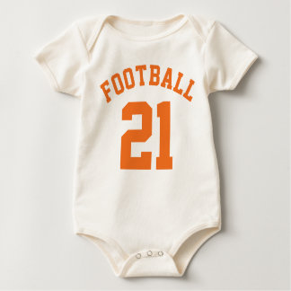 Natural & Orange Baby | Sports Jersey Design Baby Bodysuit