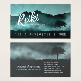 Natural Reiki Master Yoga instructor Loyalty Punch Business Card