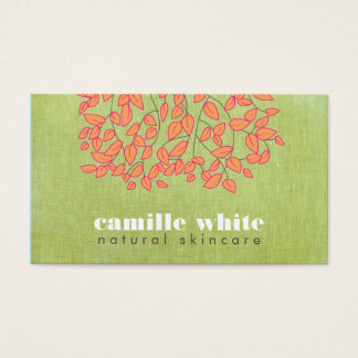 Natural Skincare Beauty Light Green Linen Look Business Card