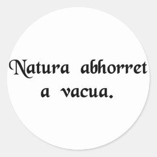 Nature abhors a vacuum. classic round sticker