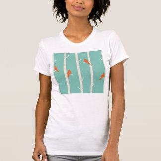 Nature birch tree bird cardinals teal orange girly T-Shirt