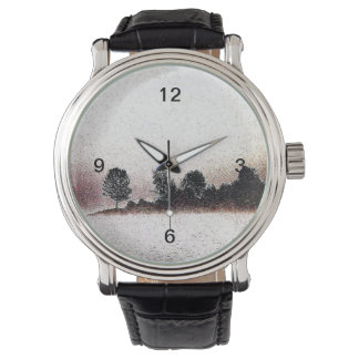 Nature black and white morning fog tree silhouette wrist watch