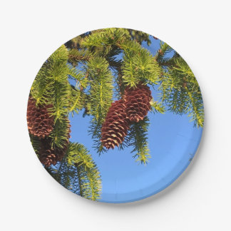 Nature forest photo paper plates with branches 7 inch paper plate