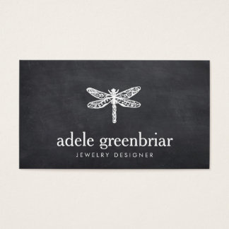Nature Jewelry Designer Dragonfly Logo Chalkboard Business Card