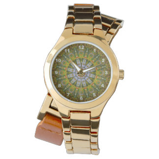Nature Mandala Gold Wrap-Around Wrist Watch
