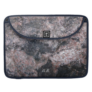Nature Pinkish Rock Texture with Initials Sleeve For MacBooks