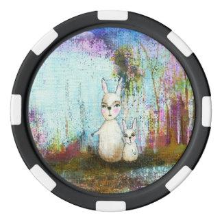 Nature School, Mama and Baby Rabbits Abstract Art Poker Chips