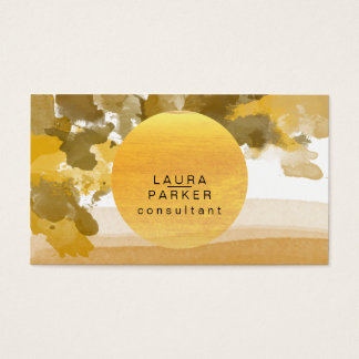Nature Watercolor Moon Paint Cosmo Chic Business Card