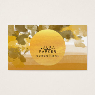Nature Watercolor Moon Paint Elegant Chic Business Card
