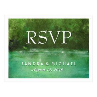 Nature Watercolor RSVP Matching Wedding Postcard