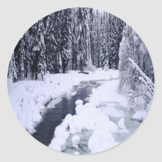 Nature Winter Snowy River Classic Round Sticker